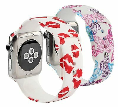 BUTTERFLY KISS 2PK M/L Wristband Strap Band Bracelet For iWatch 38MM APPLE WATCH