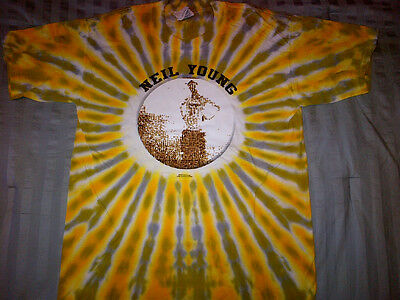 Neil Young T-SHIRT 2000 Music In Head Tour OFFICIAL NEW Never Worn Gold Tye-Dye