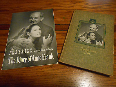 THE DIARY OF ANNE FRANK - Lot of 2 - Original Playbill & First Edition of Play!