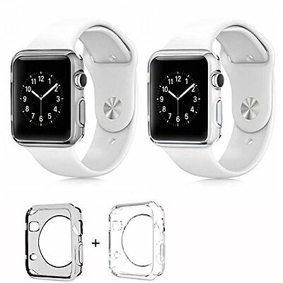 SMOKE & CLEAR 2PK Cover Protector Case Bumper For iWatch 42MM APPLE WATCH 1