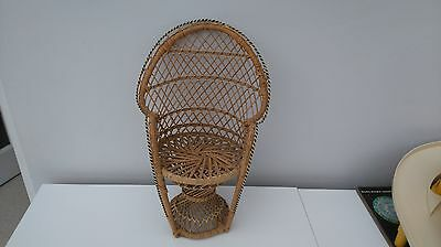 "Vintage Wicker Peacock Style Chair for Dolls or Teddies 15.5"" x 10"" Fab"