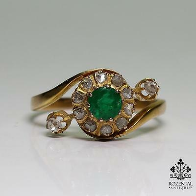 Antique Victorian 18K Gold Emerald & Diamond Ring – Earrings & Brooch set