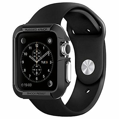 RUGGED BLACK Cover Protector Shell Case Bumper Skin For MM APPLE WATCH iWatch 1
