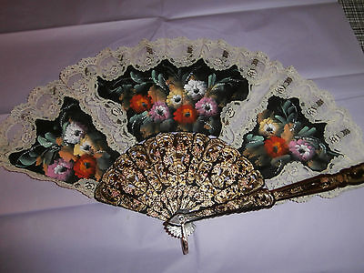 Collectable vintage hand held fan with fabric and lace poss handpainted flowers