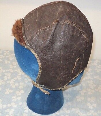 Vintage Leather Pilot's Hat, Chin Strap, Lining Worn on Bill,  1940's, WWII