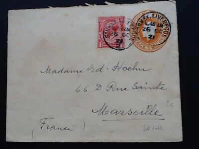 1923 2D Orange Postal Staionery Envelope Uprated For 3D Overseas Rate