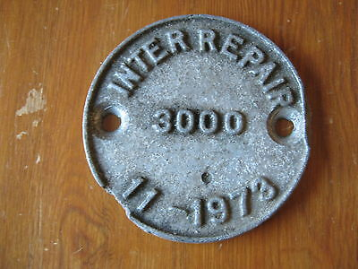 British Rail Inter Repair 3000~11-1973 Plate