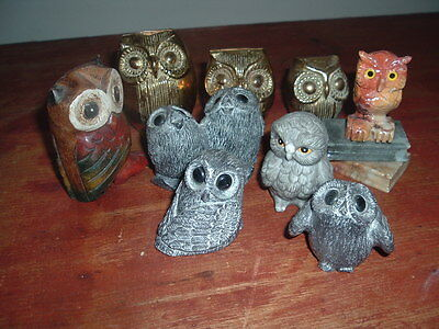 Collection Of 10 Owl Ornaments Brass/wood,ceramic,coal