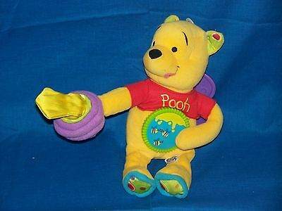"Disney Winnie the Pooh plush baby rattle crib toy 9"" hunny bee hive click wheel"