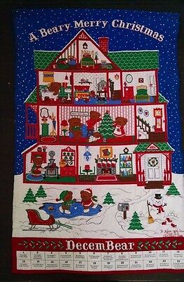 Vtg A Beary Merry Christmas Advent Calendar Cranston Completed
