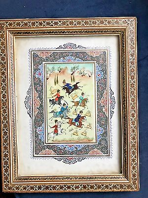 Antique Miniature Painting, Asian, Persian, Art, Hand Painted, Bakelite, Hunters