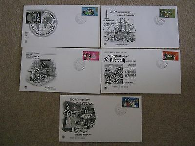 Stuart First Day Covers x 5 General Anniversaries 1970- Aylesford  Maidstone H/S