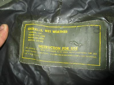 Scarce Vietnam War U.s. Army Issue Pbr Boat Wet Weather Trousers 1974 Dated