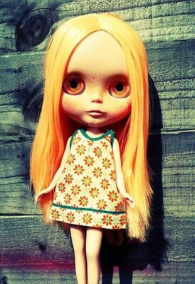 "Gorgeous Factory BLYTHE DOLL Mango Hair Freckle Face 12"" Custom Ooak UK"