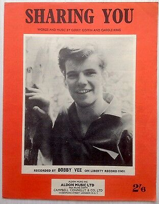 Bobby Vee -  Sharing You Original 1962 Songsheet In Excellent Condition