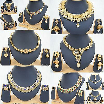 Gold plated Polki Kundan India Bollywood bridal Jewellery necklace earrings