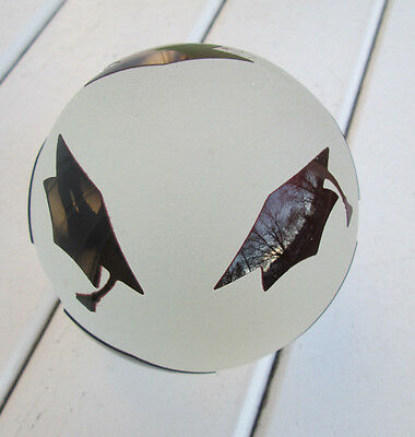 """Vintage Glass Paperweight, Frosted Glass w/ Black Graduation Caps, abt 4"""" wide"""