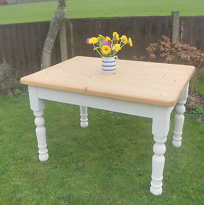 Solid Pine Chunky Farmhouse 4 -6 Seater  Dining Table Shabby Chic