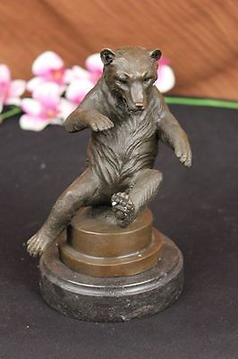 Handmade bronze sculpture Statue Lecourtier By Bear Happy Signed DB