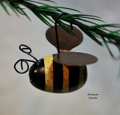 6 wood Bumble Bee Ornaments w/ Rusty Wings