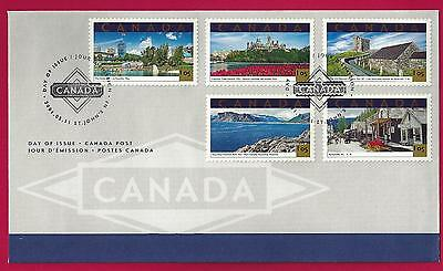 2001  Canada $ 5.25  OFDC  # 1904 a-e   TOURIST ATTRACTIONS  New and Unaddressed