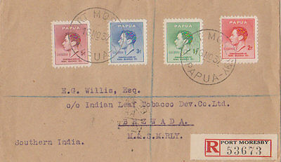 1937 Cover Papua to Southern India