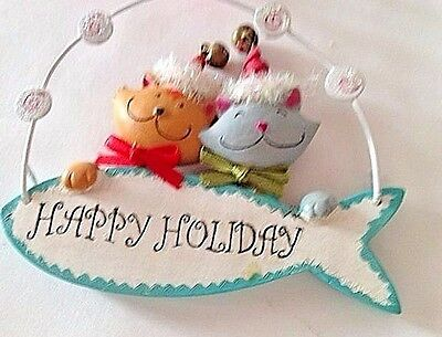 Cats Happy Holiday Ornament Christmas Fish Wire Hanger Jingle Bells VTG Kitties