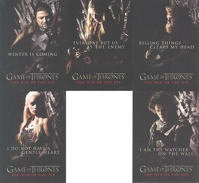 """Game of Thrones Season 1 """"You Win or You Die Cards"""" Set of 5 Chase Cards #SP1-5"""