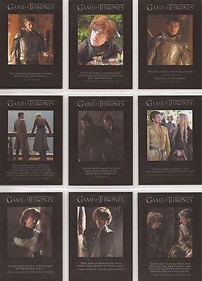 """Game of Thrones Season 4 - """"Quotable"""" Set of 9 Chase Cards #Q31-39"""