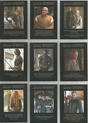 "Game of Thrones Season 5: ""Quotable"" Set of 9 Chase Cards Q41-Q49"