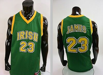 LeBron James Irish High School Basketball Jersey Swingman 23 GREEN SIZE L adults