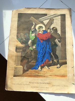 ANTIQUE GERMAN OVERPAINTED LITHOGRAPH. (Ed. Gust May in Frankfurt a M)