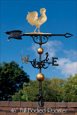 "Whitehall 46"" Rooster Weathervane Full-Bodied Gold-Bronze Color with Roof Mount"