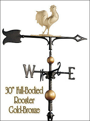 "Whitehall Rooster Weathervane 30"" Full-Bodied Ships FAST in Gold-Bronze Color"