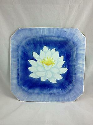 Italian Stoneware Hand Painted Blue Water Lily Plates set of 4