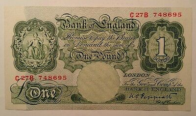 Bank of England £ 1 One Pound Note Peppiatt signed B.260 1940 's Uncirculated