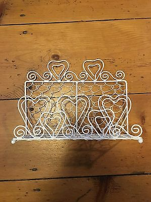 White Metal Letter Rack With Heart Detail