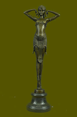 Signed Art Deco Chiparus Belly Dancer Marble DEAL Bronze Sculpture Statue DB