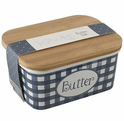 Katie Alice VINTAGE INDIGO BUTTER DISH Stoneware with Wood Lid Large BLUE White