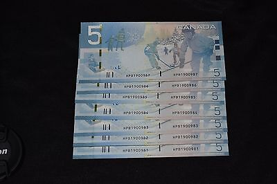 7  Consecutive 2006 Bank Of Canada $5.00 Notes......ch Unc
