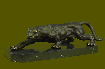 Real Bronze Metal Statue on Marble Female Lion Sculpture Art Deco Figurine DB