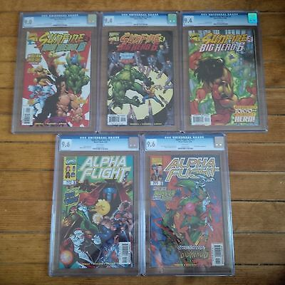 Alpha Flight 16, 17 & Sunfire & Big Hero 6 #1, 2,3  Cgc 9.0, 9.4 & 9.6 Marvel