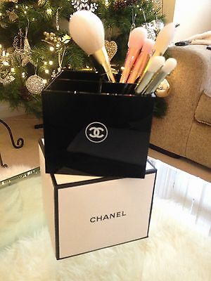 New & Boxed CHANEL Makeup/Hand Mirror/Brushes Storage Box / Organiser VIP GIFT