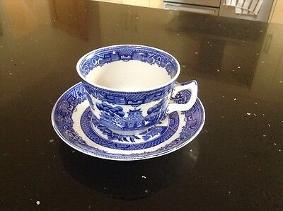 Old Blue & White Willow Pattern Cup And Saucer  Made In England