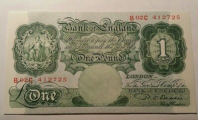 Bank of England £ 1 One Pound Note P.S.Beale signed B.268 1950 Uncirculated