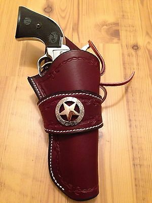 Western Leather Gun Holster  Single Action Revolver CROSS DRAW Colt Sass