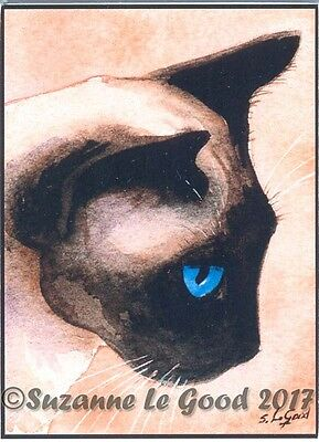 Aceo Applehead Siamese Cat Mounted Print From Original Painting Suzanne Le Good