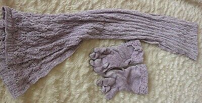 Lilac M&s Chenille Gloves And Scarf
