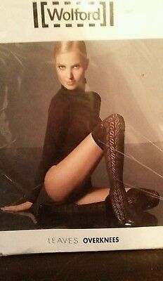 New Wolford Black Leaves Overknees Rrp £42 Sold Out