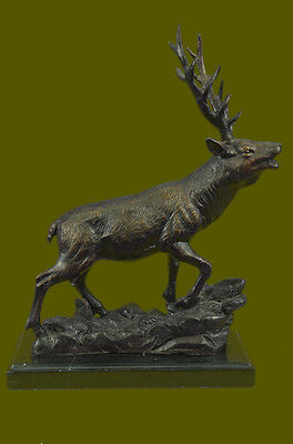 Bronze Marble Statue Deer Caribou Buck Stag Lodge Sculpture Figure DB